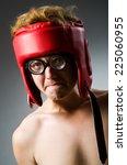 funny nerd boxer in sport... | Shutterstock . vector #225060955