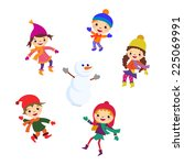 winter little girl sculpts... | Shutterstock .eps vector #225069991