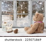 teddy bear and rocking horse... | Shutterstock . vector #225071869