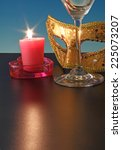closeup of mask with candle. | Shutterstock . vector #225073207
