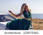 fashion outdoor photo of sexy... | Shutterstock . vector #225075361