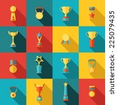 trophy icons flat set of... | Shutterstock .eps vector #225079435