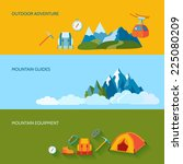 mountains camping banners set... | Shutterstock .eps vector #225080209