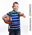 happy schoolboy with backpack... | Shutterstock . vector #225084031