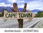 cape town wooden sign with a... | Shutterstock . vector #225087361