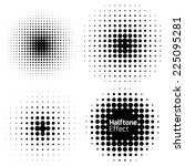 set of abstract halftone... | Shutterstock .eps vector #225095281