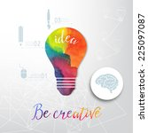 light bulb made of watercolor ... | Shutterstock .eps vector #225097087