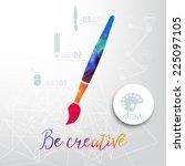 vector paint brush silhouette... | Shutterstock .eps vector #225097105