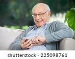 Smiling Senior Man Text...