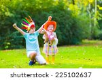 two kids playing cowboy in... | Shutterstock . vector #225102637