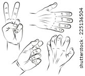 victory sign. splayed fingers.... | Shutterstock .eps vector #225136504