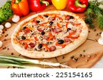 supreme pizza | Shutterstock . vector #225154165