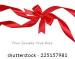 shiny red ribbon with bow... | Shutterstock . vector #225157981