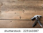 Carpentry Tools On A Wooden...