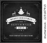 christmas retro typography and... | Shutterstock .eps vector #225187915