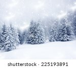 christmas background with snowy ... | Shutterstock . vector #225193891