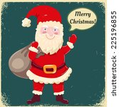 happy santa claus with sack of... | Shutterstock .eps vector #225196855