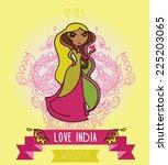 lovely doodle indian girl ...   Shutterstock .eps vector #225203065