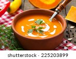 Squash Soup In Rustic Bowl