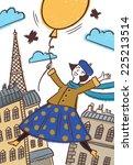girl flying in a balloon over...   Shutterstock . vector #225213514