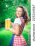portrait of young bavarian girl ... | Shutterstock . vector #225214567
