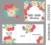 set of invitations with floral... | Shutterstock .eps vector #225215515