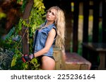 beautiful girl on the nature | Shutterstock . vector #225236164