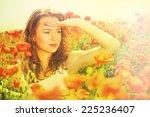 beautiful young woman in poppy... | Shutterstock . vector #225236407
