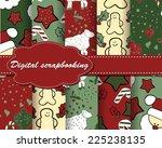 set of vector christmas paper... | Shutterstock .eps vector #225238135