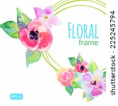 vector frame with watercolor... | Shutterstock .eps vector #225245794