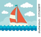 sailing boat on waves  | Shutterstock .eps vector #225260899