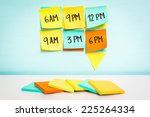 time to schedule board on blue... | Shutterstock . vector #225264334