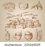 vector hand drawn village... | Shutterstock .eps vector #225265039
