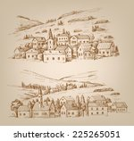 vector hand drawn village... | Shutterstock .eps vector #225265051