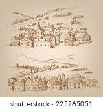 vector hand drawn village... | Shutterstock .eps vector #225265051