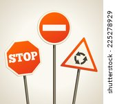 set of three traffic signs | Shutterstock .eps vector #225278929