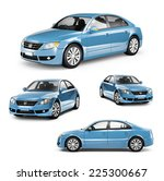 Stock photo image of a blue car on different positions 225300667