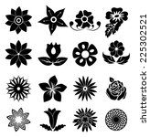 flower icons set | Shutterstock .eps vector #225302521