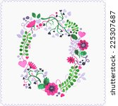 watercolor floral frame or... | Shutterstock .eps vector #225307687