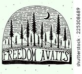 freedom awaits grungy handdrawn ... | Shutterstock .eps vector #225308689