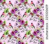 wild exotic birds on flowers... | Shutterstock . vector #225320659