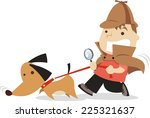 little boy detective with dog... | Shutterstock .eps vector #225321637