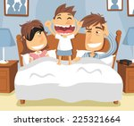 little boy waking up mom and... | Shutterstock .eps vector #225321664