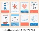 greeting card set cute retro... | Shutterstock .eps vector #225322261