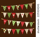 vector triangle bunting flags.... | Shutterstock .eps vector #225324241