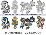 set of henna paisley mehndi... | Shutterstock .eps vector #225329704