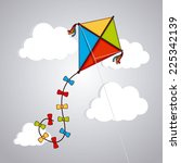 kite design over cloudscape... | Shutterstock .eps vector #225342139