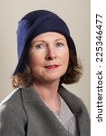 Brunette In Blue Cloche Hat And ...