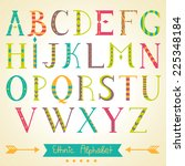 vector colorful ethnic alphabet. | Shutterstock .eps vector #225348184