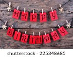 red tags hanging on a line with ... | Shutterstock . vector #225348685